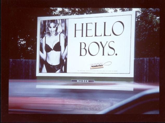 'HELLO BOYS' WONDERBRA ADVERTISING HOARDING.. POSTER. BILLBOARDS